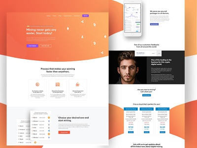 Digital Mining Service Website vector piechota neon page landing isometric iphone illustration ethereum cryptocurrency character bitcoin