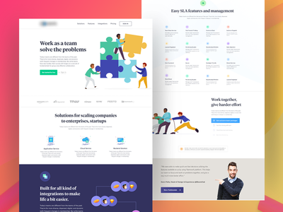 TeamWork Homepage google gmail concept icon landing character illustration ux ui webdesign