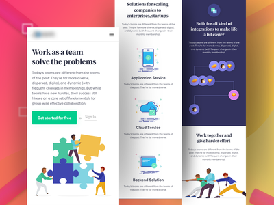Team work mobile version webdesign ux ui landing illustration icon google gmail concept character