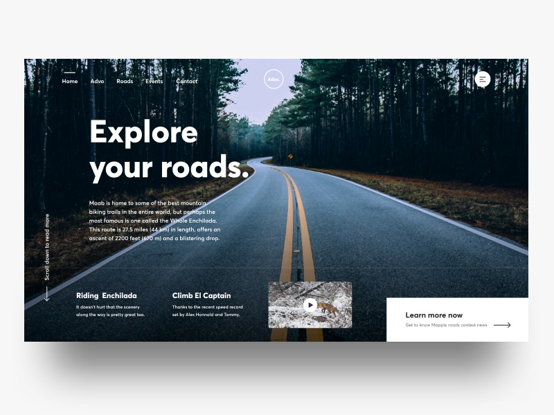 Advo Exploration gmail trending minimalism landing header typography simple minimal clean