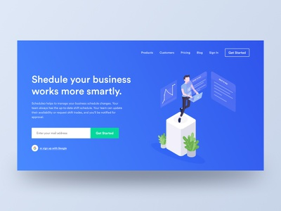 Schedulo (wip) product schedule landing illustration icons home google gmail clean