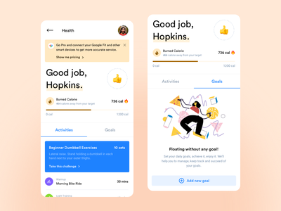 Fitness App trend clean design figmadesign minimal android app app health and fitness design illustration ui