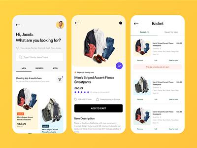 Ecommerce App Concept minimal clean trendy product design cart product details ecommerce app ux ui