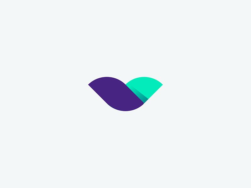 flower v teal purple v brand design logo organic flower