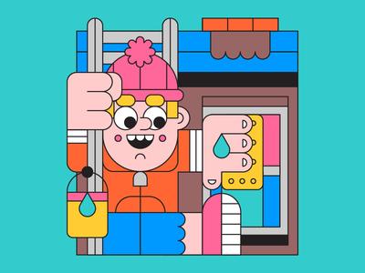 Window Cleaner happy water sponge job cleaner window character illustration