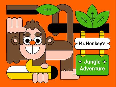 Mr Monkey's Jungle Adventure tropical leaf banana jungle monkey animal character illustration