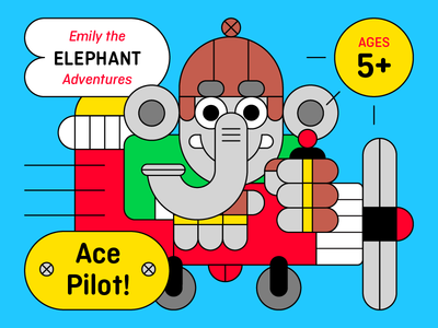 Emily The Elephant Adventures: Ace Pilot! cute kids sky pilot plane elephant animal character illustration
