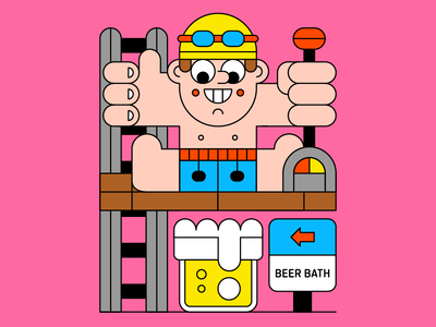 Beer Bath happy alcohol trick ladder lever beer man character illustration