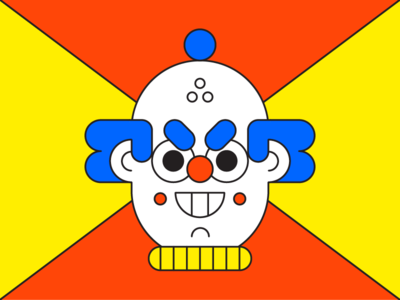 Evil Clown carnival spooky horror scary clown character illustration