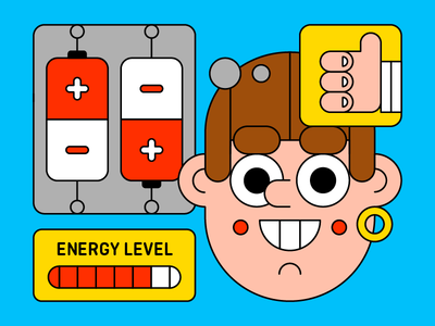 Stay Charged wire energy happy charged battery character illustration