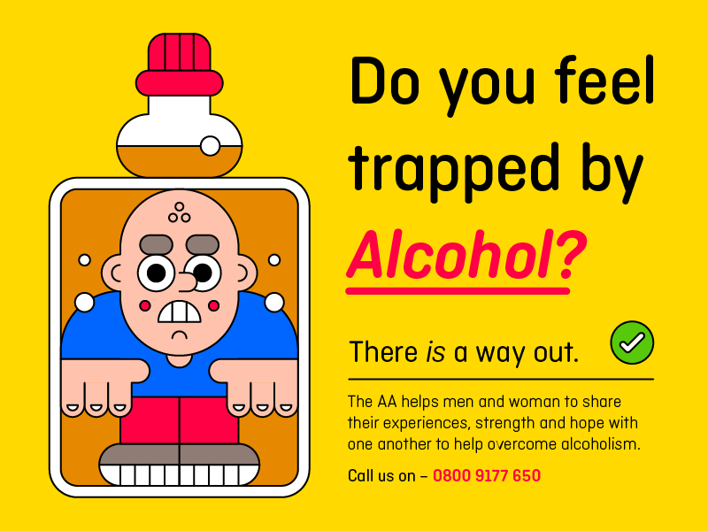 Alcoholism Editorial scared bottle trapped dependency alcohol character illustration