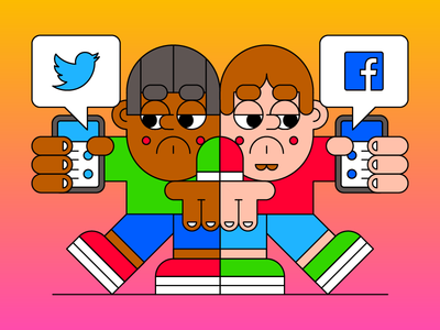 Social Media apathy notifications social facebook twitter phone technology character illustration
