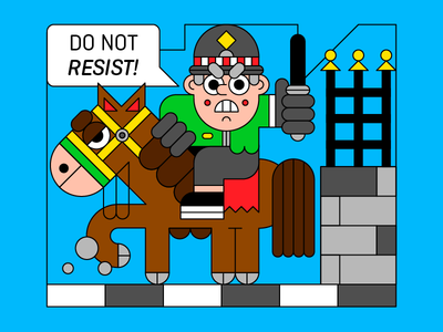 Do Not Resist! animal control violence angry protest horse character illustration