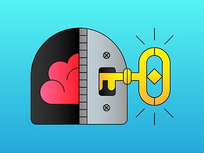 Unlock Your Potential head mind unlock door lock key brain illustration