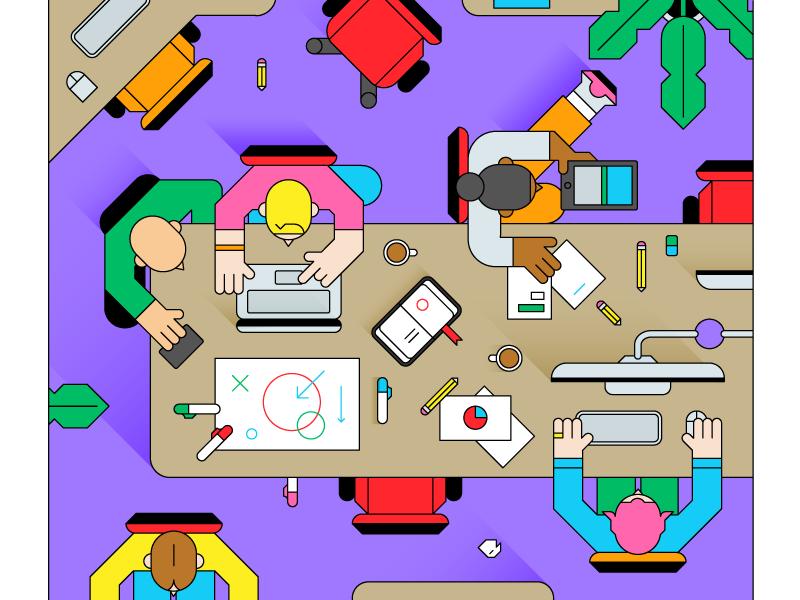 Office computer people work office design vector illustration