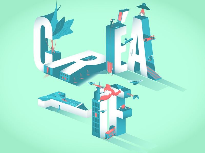 Creatif water king kong light building nice color cool pop draw illustrator triade isometric