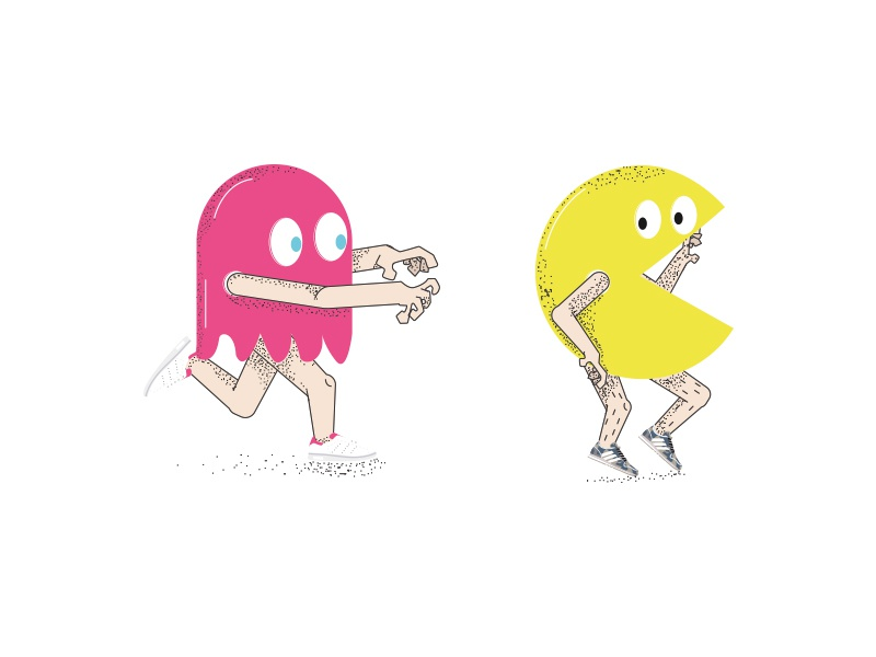 Pac Man boys girls pink love pop man pac game video cool geek