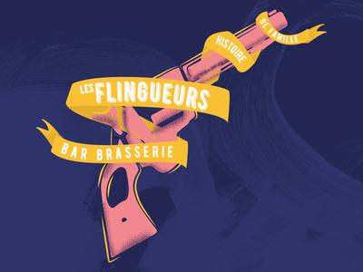 Les flingueurs pop free vector cool design pink illustration geek gun branding logo