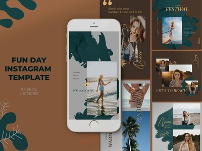 Fun Day Instagram Templates social media red promotion party instagram insta holiday guest dj drink dj club beach party beach bar banners banner pack azruca advertising