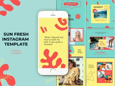 Sun Fresh Instagram Templates template sun summer social media social psd promotional promotion promo photoshop network mockup layout instagram ig beach banners azruca advert ad