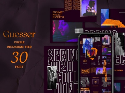 Guesser Puzzle Instagram Feed social shop feed photoshop feed photoshop modern lifestyle stories instagram template instagram feed instagram banner instagram food stories feed template feed fashion ecommerce creative clean banner azruca