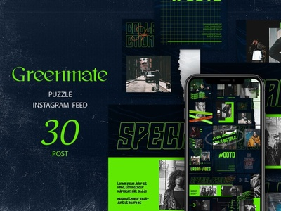 Greenmate Puzzle Instagram Feed template square banners social media simple sale promotional promotion overlay online shop modern minimalist instagram banner instagram green fashion banners azruca advertising ads