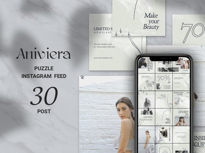 Aniviera Puzzle Instagram Feed woman social media template post design paper texturem stylish paper minimalist minimal layout design instagram template instagram puzzle instagram post instagram grid instagram design instagram grid design female blogging blogger azruca