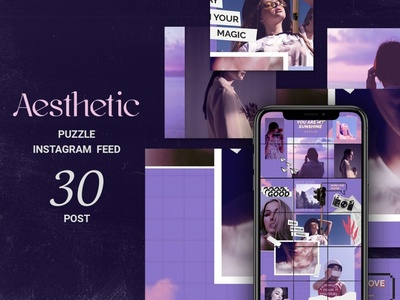Aesthetic Puzzle Instagram Feed instastories instagram post instagram influencer fun feminine fashion editorial ecommerce dark clothing blogger templates beauty banner azruca apparel android
