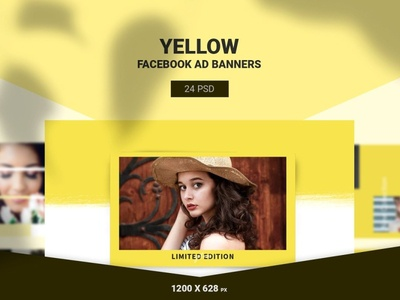 Yellow Facebook Ads Banners retargeting promotions multi purpose marketing google adwords flat design fashion discount deal coupon clothing cloth buy business banners banner set banner pack azruca animated banner adroll