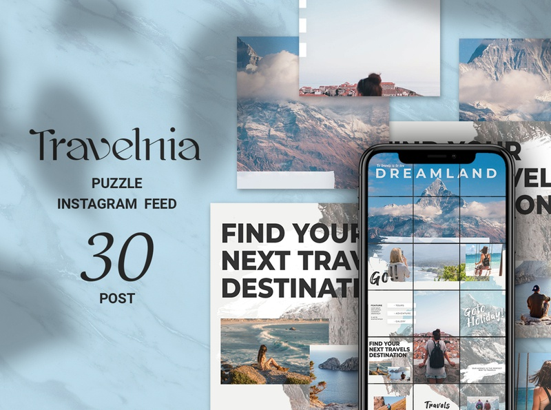 Travelnia Puzzle Instagram Feed travel promotion travel instagram travel summer story social media shop seamless background quote puzzle posts post photoshop instagram template instagram puzzle instagram hotel holiday grid azruca