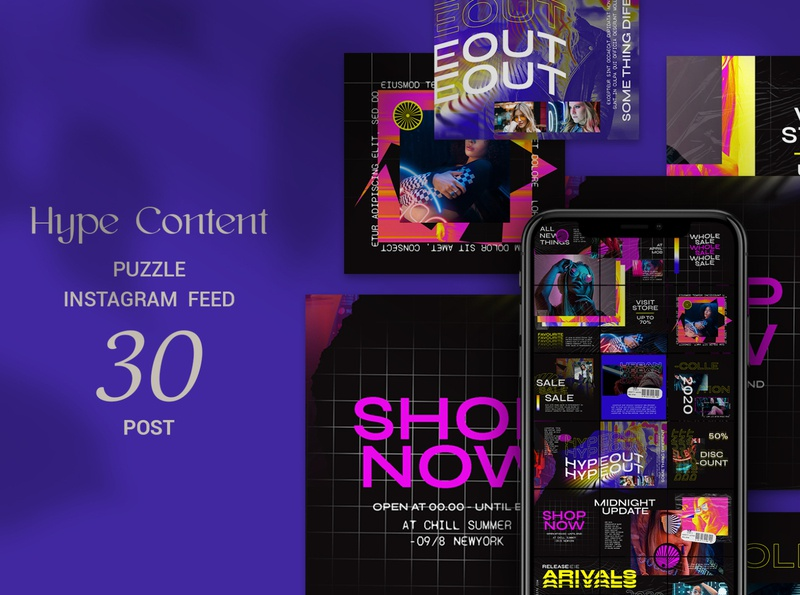 Hype Content Puzzle Instagram Feed social media social shop feed photoshop feed photoshop modern lifestyle stories instagram template instagram feed instagram banner instagram food stories feed template feed fashion ecommerce creative azruca
