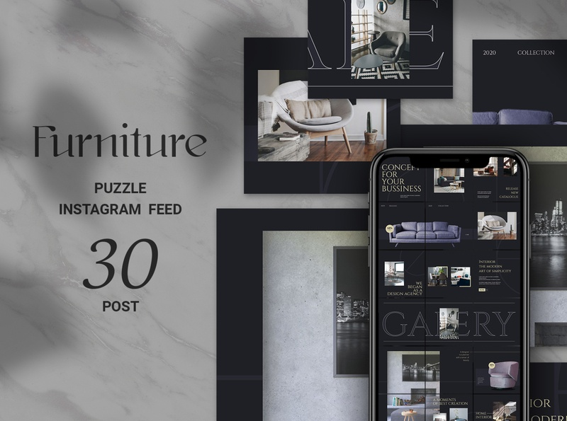 Furniture Puzzle Instagram Feed square banners social media kit shopping puzzle interior design instagram template instagram puzzle instagram banners instagram banner instagram home design home decoration furniture store furniture shop furniture azruca