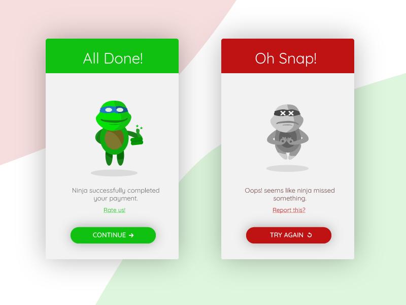 Ninja Secure Payment App-Flash Message turtle ninja red green card app message flash dailyui