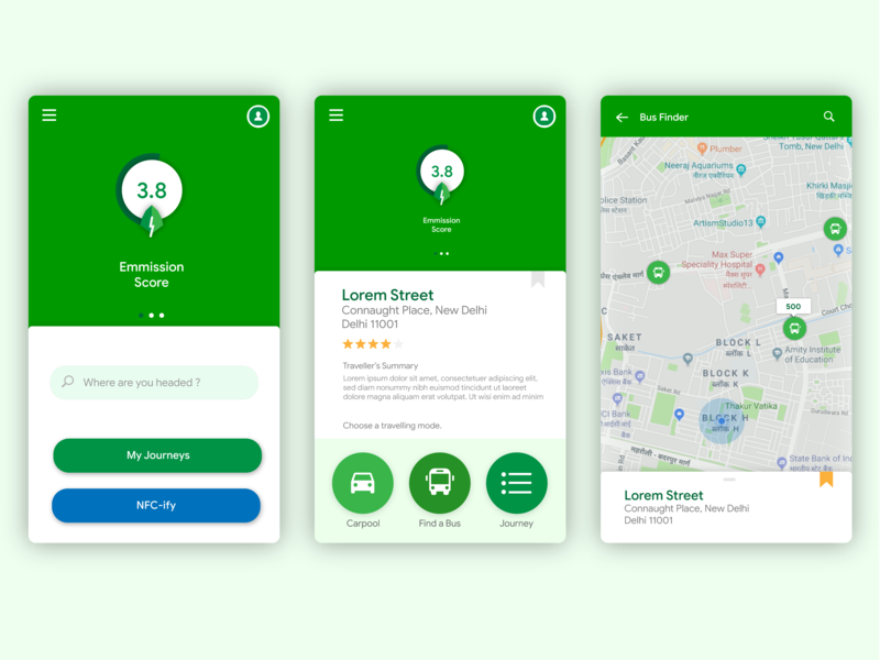 Opening Screen & Bus Finder (Khojak Project) typography branding vector green app material design ux ui