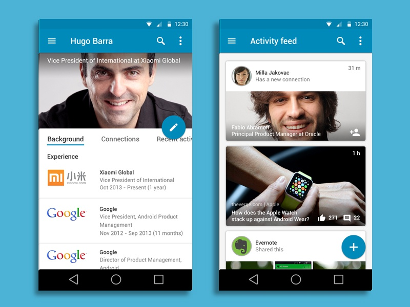 Linkedin for Android - Material Design android l material design google linkedin ui ux mobile app lollipop android