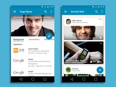 Linkedin for Android - Material Design
