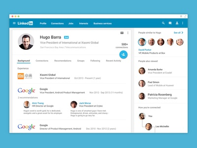 Linkedin for web - Material Design material design android l ui ux app web google linkedin lollipop android