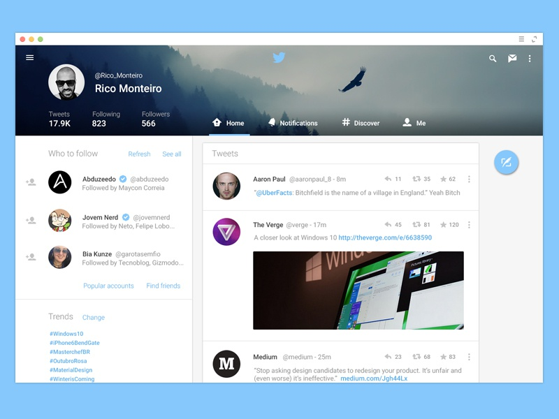 Twitter for Web - Material Design twitter material design android l google android web design ui ux app lollipop android lollipop
