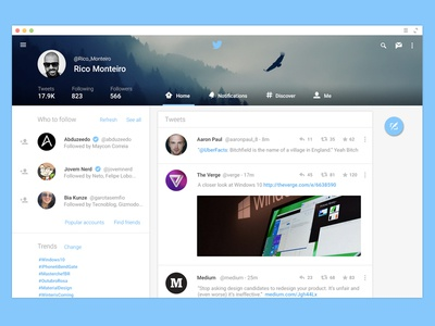 Twitter for Web - Material Design twitter material design android l google android web design ui ux app lollipop android lollipop