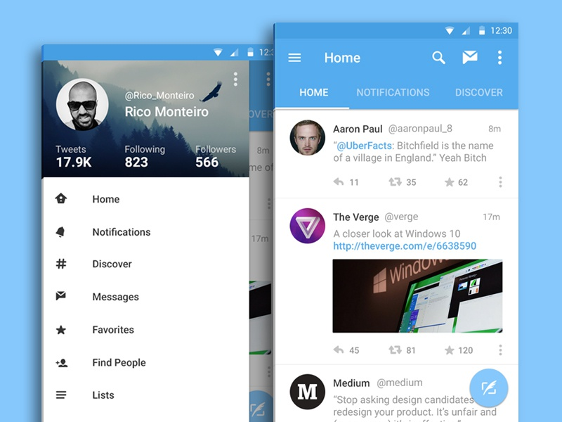 Twitter for Android - Material Design twitter material design android l google android mobile ui ux app lollipop android lollipop