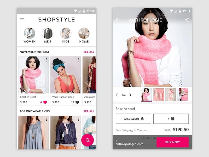 Shopstyle Android app clothes shopping material design shopstyle fashion android