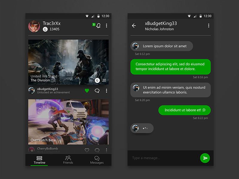 xBox Live Android app android material design social game messenger chat xbox one smartglass