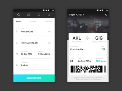 Air New Zealand Mobile App search airline booking pass flight mobile ux ui material design