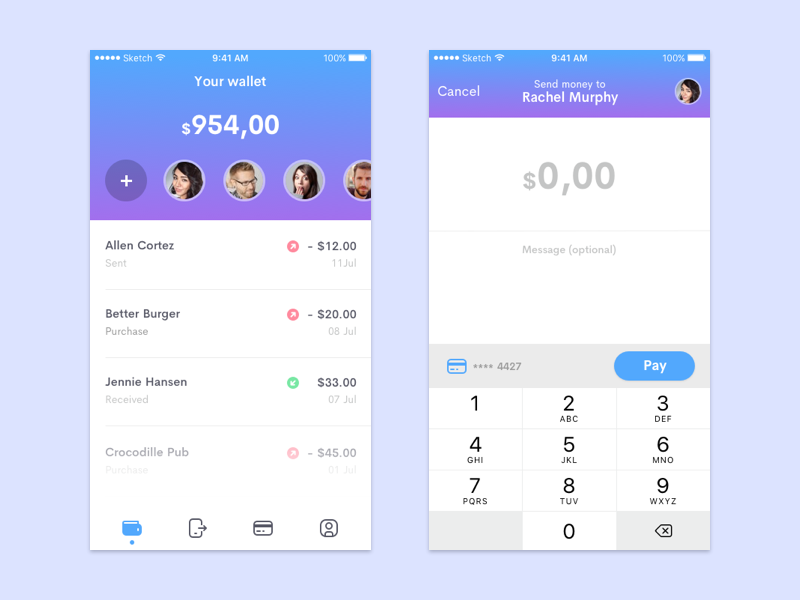 Bitpay - Send money to friends picpay credit card ux ui finance paypal android pay apple pay sketch ios10 payment