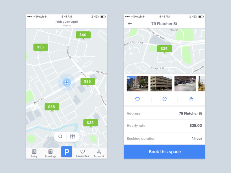 Parking App mobile ui iphone 8 ios 11 drive car maps uber parking