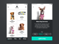 Zeedog Shopping App product card ecommerce zeedog iphone x store dogs pets shopping