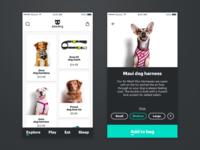 Zeedog Shopping App product card ecommerce zeedog iphone x store dogs pets shopping