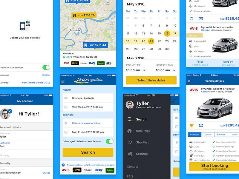 Airport Rentals App ios profile sidebar car flights calendar airport car rental