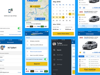 Airport Rentals App ios profile sidebar car flights calendar airport car rental