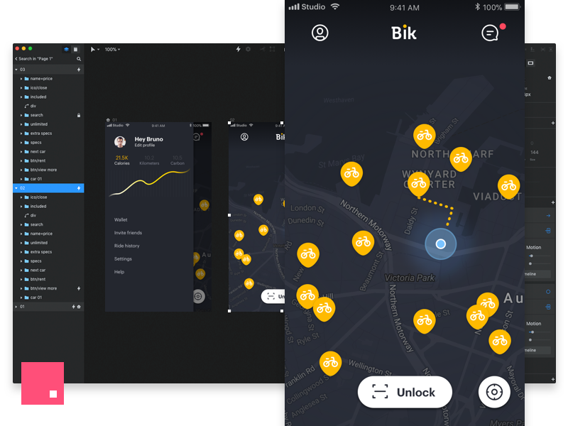 InVision Studio - Bike sharing app bird uber ui ios invision studio mobike ofo lime bicycle bike sharing